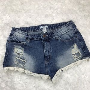 Forever 21 Distressed Denim Jean Lace Shorts